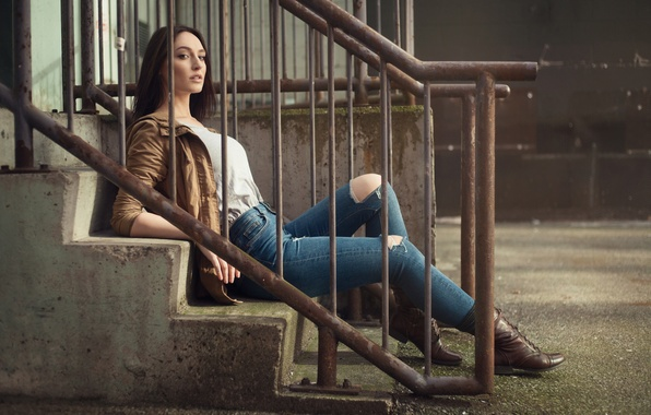 Picture girl, jeans, brunette, jacket, ladder, railings, girl, legs, photo, model, Jason Harynuk, Jacqueline Mae