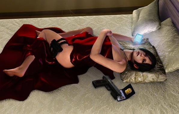 Picture girl, gun, weapons, feet, icon, bed, pillow, bed, gun, pistol, Resident Evil, fanart, Biohazard, Ada ...