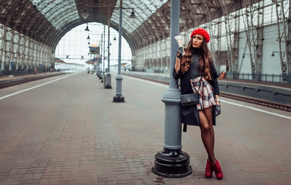 Picture girl, station, takes, skirt