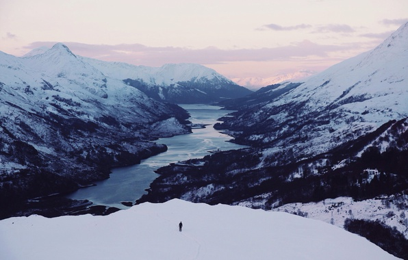 Picture sunset, winter, mountains, lake, person