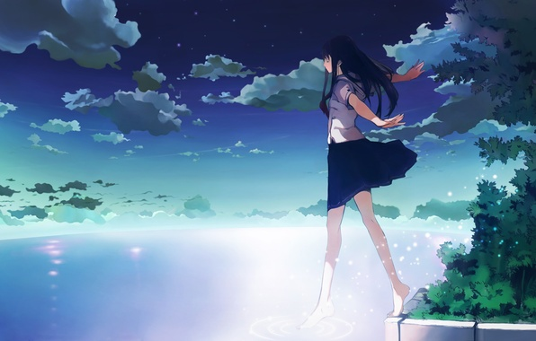 Picture the sky, water, clouds, Girl, school uniform, step