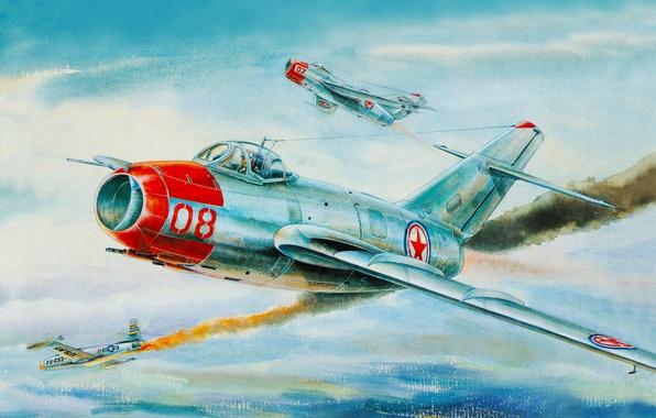 Picture The sky, Figure, War, fighter, Flight, Nose, ART, Korea, The MiG-15, Fagot, F-86, Mikoyan, Gurevich, …