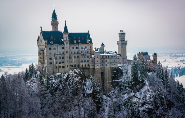 Picture winter, forest, the sky, snow, trees, castle, tower, dal, Neuschwanstein, Bayern, Germany, Ludwig