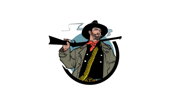 Picture weapons, smoke, hat, cigarette, cowboy, rifle
