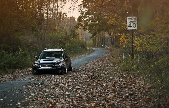 Picture autumn, Subaru, black, Subaru, stance, Outback