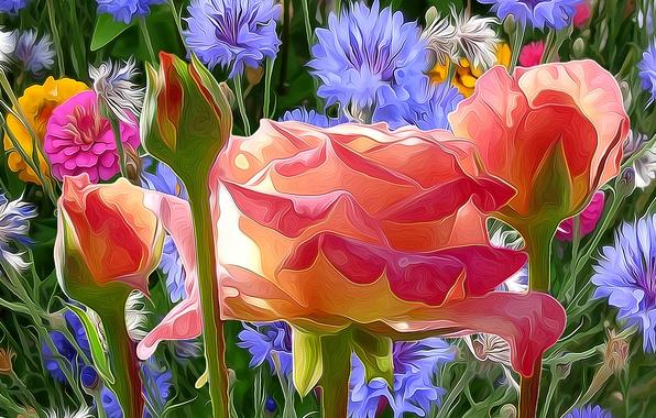 Photo wallpaper flowers, touch, paint, petals, meadow, nature, line