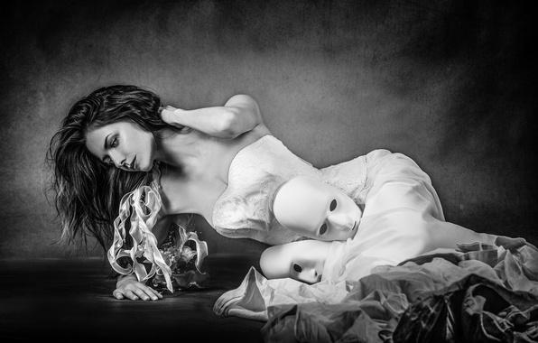 Picture girl, dress, mask, Joachim Bergauer