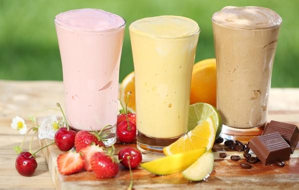 Picture berries, chocolate, fruit, citrus, milkshake