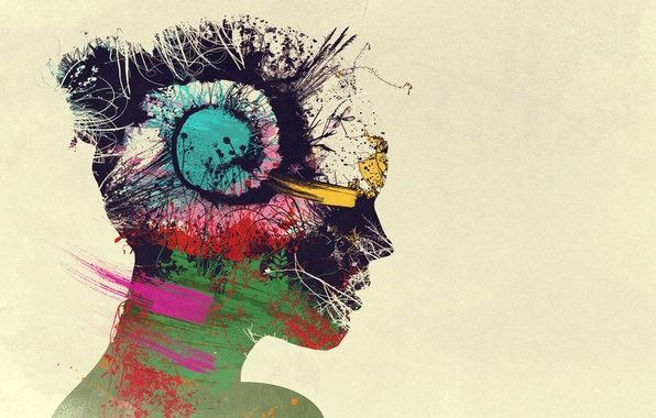 Picture girl, thoughts, girl, mind, Psychedelic