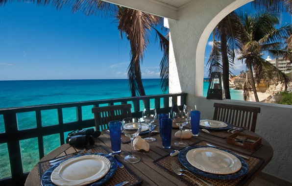 Picture sea, beach, stay, view, horizon, relax, balcony, terrace