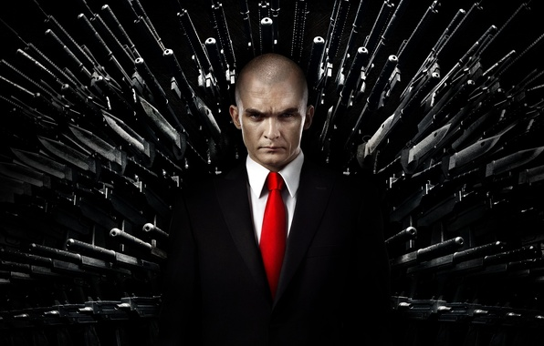 Picture red, weapons, black, costume, tie, killer, killer, Rupert Friend, Hitman: Agent 47, Rupert Friend, Hitman: …