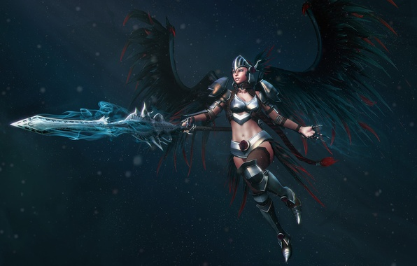 Picture weapons, Girl, wings, armor, warrior
