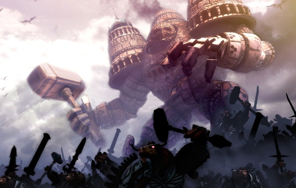 Picture Army, Attack, Hammer, Tower, Giant, demigod