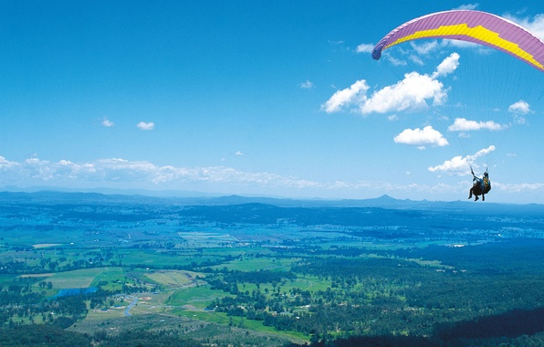 Picture the sky, clouds, flight, mountains, earth, people, height, paragliding, Paraglider