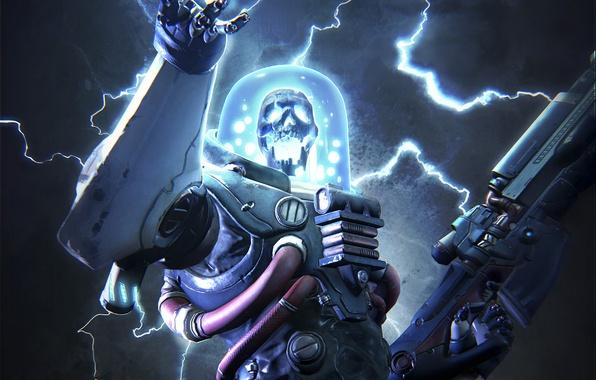 Picture weapons, lightning, skull, category, warrior, costume, gun, armor, fighter, Creek, MercurySteam, Raiders of the Broken …