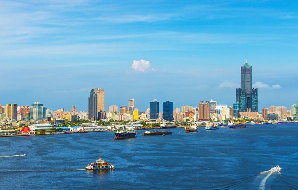 Picture sea, the sky, nature, city, the city, coast, China, building, ships, port, China, Taiwan, sky, …