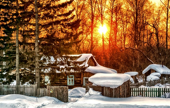 Picture winter, forest, the sun, snow, trees, sunset, house, the fence, the snow, hut