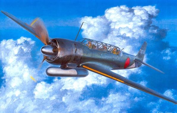Picture figure, art, Japanese, deck, WW2, Nakajima C6N1 Saiun, spy plane