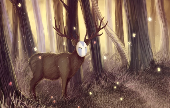 Picture forest, deer, mask, endless forest, tale of tales