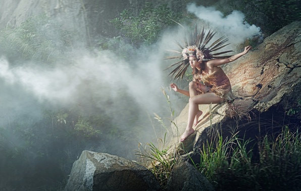 Picture girl, nature, pose, fog, stones, feathers, jungle