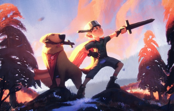 Photo wallpaper boy, forest, adventure, sword, pan, dog, art, Adventure Time, dog
