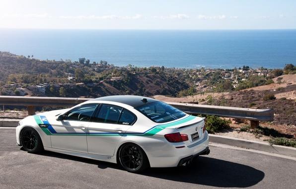 Picture road, sea, white, bmw, BMW, valley, white, rear view, f10, bump