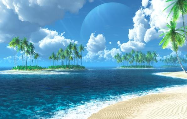 Picture sea, Islands, tropics, palm trees, graphics, digital, Tropic of Thetis
