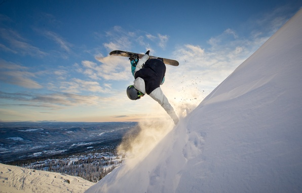 Picture snow, snowboard, the descent, height, mountain, athlete, snowboarder, the trick
