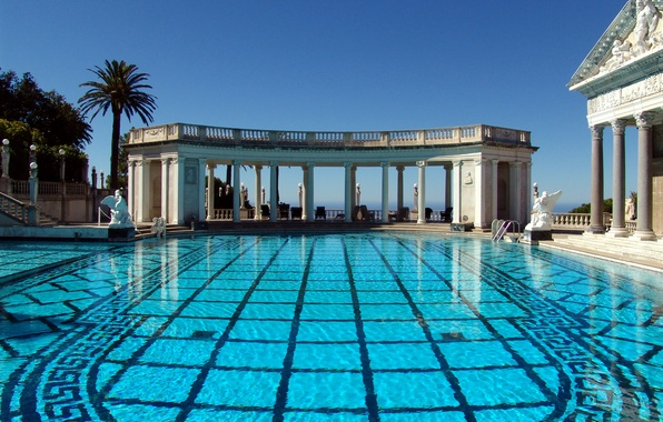 Picture the sky, CA, columns, USA, architecture, Hearst Castle, San Simeon, the pool of Neptune