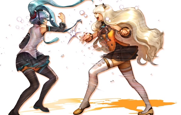 Picture girls, fight, stockings, art, Hatsune Miku, bow, Vocaloid, Vocaloid, school uniform, ears, SeeU