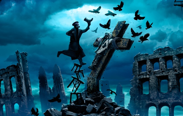 Picture the sky, clouds, birds, clouds, people, cross, crows, ruins, the crucifixion, stool, Romantically Apocalyptic, alexiuss, …