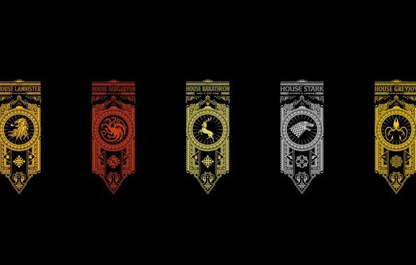 Photo wallpaper wallpaper, Baratheon, crow, Winterfell, Lannister, Game of Thrones, lion, deer, kraken, A Song of Ice ...