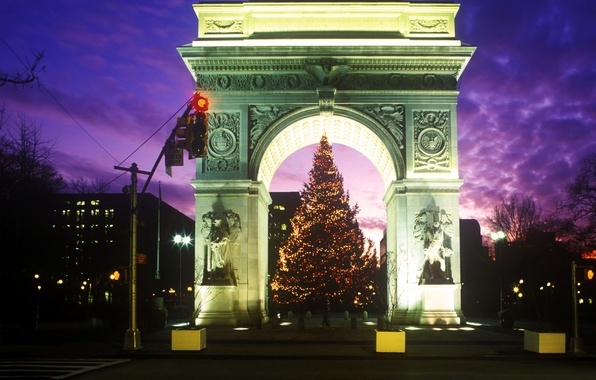 Picture night, tree, arch, Washington Square Park