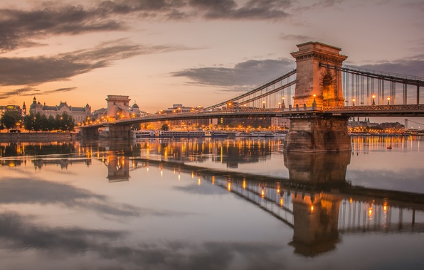 Picture the sky, clouds, lights, river, the evening, support, Hungary, Budapest, The Danube, chain bridge