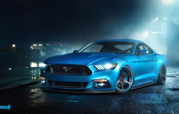 Picture blue, Mustang, Ford, Mustang, before, muscle car, Ford, blue, muscle car, front, by Gurnade