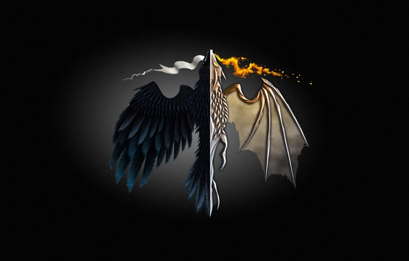 Picture fire, dragon, minimalism, minimalism, Game of Thrones, Game of thrones