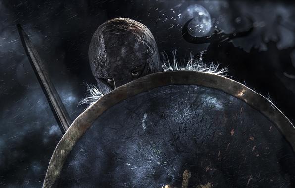 Photo wallpaper helmet, warrior, sword, background, shield