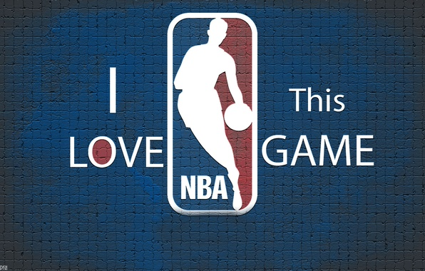 Picture Blue, Wall, Basketball, Background, Logo, NBA