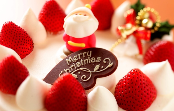 Picture food, strawberry, Christmas, cake, Santa, cake, fruit, holidays, cake, cream, dessert, food, holidays, fruit, Merry …