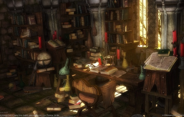 Picture room, books, office