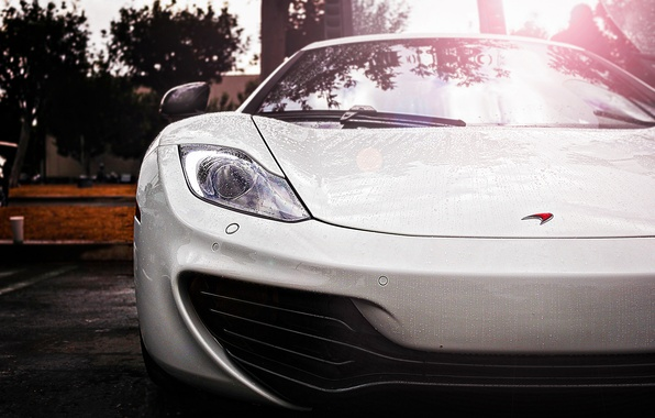 Picture white, drops, rain, McLaren, supercar, white, supercar, rain, MP4-12C, McLaren