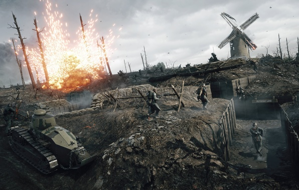 Picture war, the game, easy, soldiers, tank, battle, the battle, Reno, Electronic Arts, FT-17, Battlefield 1