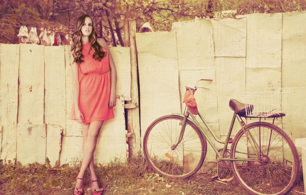 Picture girl, trees, bike, background, widescreen, Wallpaper, mood, foliage, the fence, dress, wheel, wallpaper, widescreen, background, …
