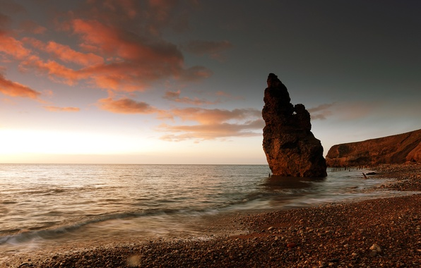 Picture sea, the sky, clouds, sunset, rock