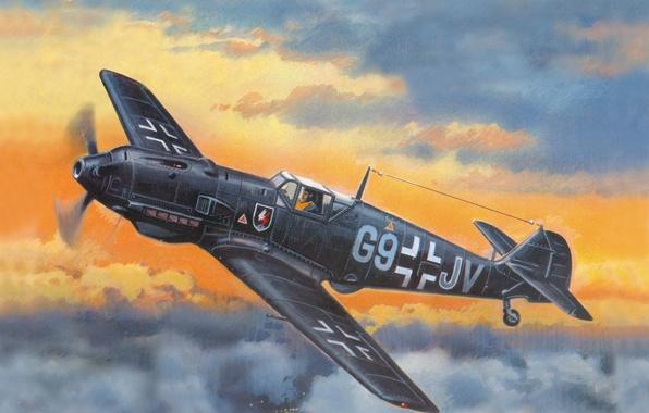 Picture the sky, figure, fighter, art, Messerschmitt, German, WW2, Bf - 109E4