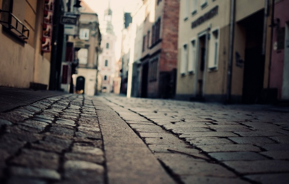 Picture street, building, pavers