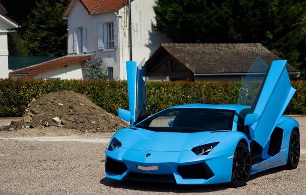 Picture Lamborghini, supercar, paris, blue, france, LP700-4, Aventador, Exotic