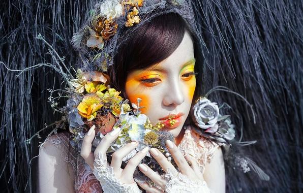 Picture girl, flowers, colors, makeup, fantasy, fashion, Lou Ann