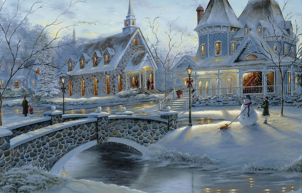 Picture winter, bridge, people, holiday, tree, home, Christmas, snowman, painting, Robert Finale, art