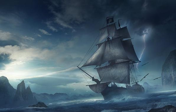 Picture sea, wave, storm, fiction, rocks, lightning, ship, sailboat, storm, fantasy, art, flight, a flock of …